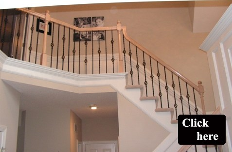 Iron Spindle Gallery Before And After Kc Wood | New Banister And Spindles | Stair Treads | Iron Stair | Oak Banister | Iron Balusters | Floating Stairs