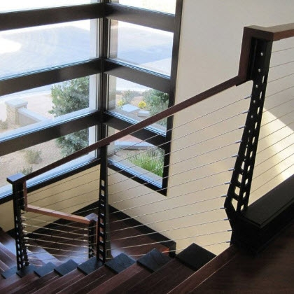 Modern Stair Railing And Balcony Railing Las Vegas Nv Keuka | Modern Black Metal Stair Railing | Balcony | Really Thin | Outdoor | Metal Mesh | Dark Wood