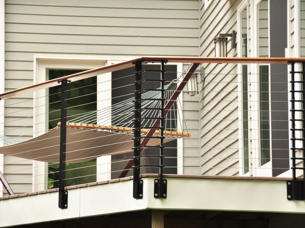 Deck With Cable Railing System Lockport Ny Keuka Studios | Mid Century Modern Stair Railing
