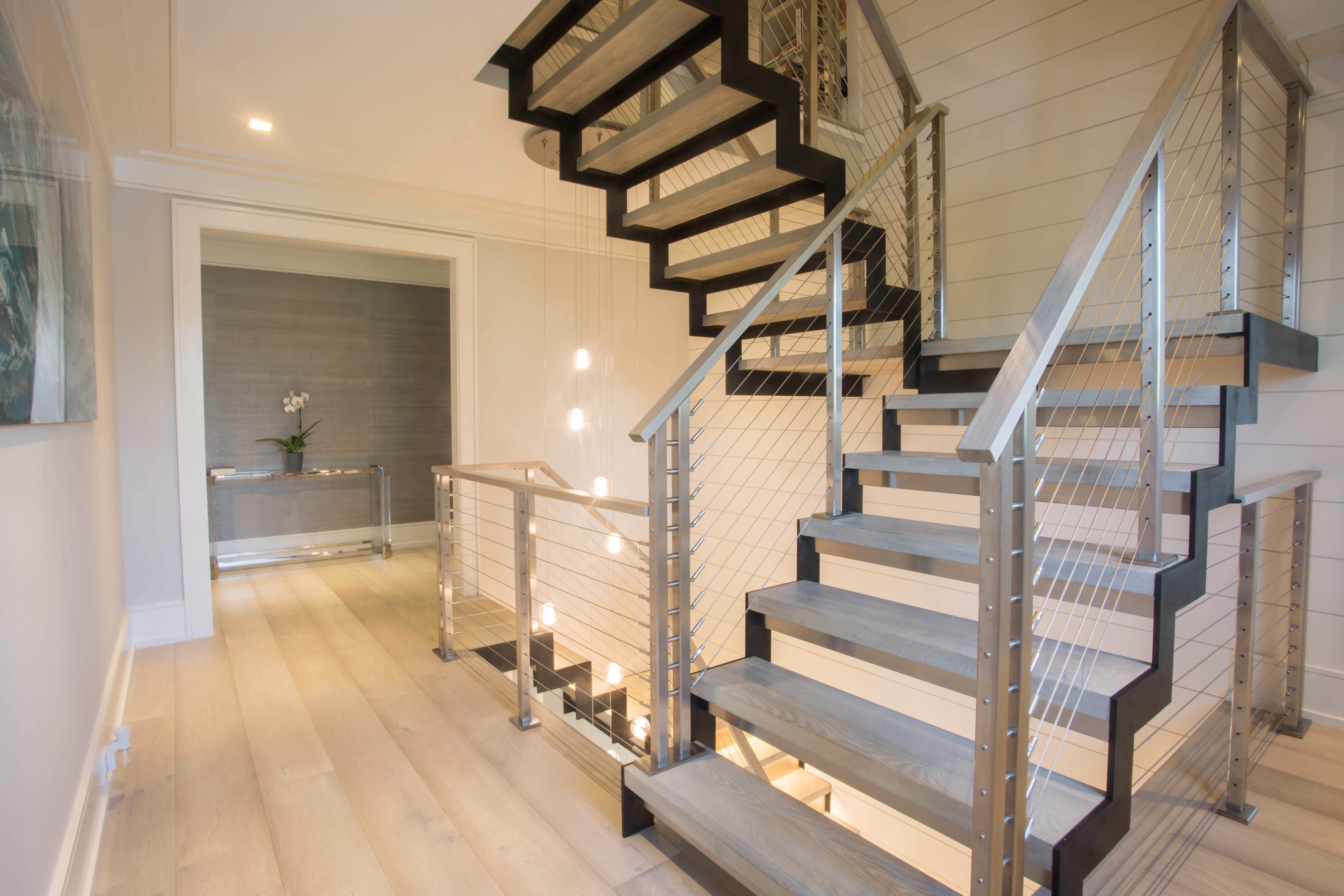 Modern Stairs With Stainless Railing Greenwich Ct Keuka Studios | Modern Stainless Steel Staircase Railing | Modular Steel | Hand | Crystal Handrail | Contemporary | Exterior