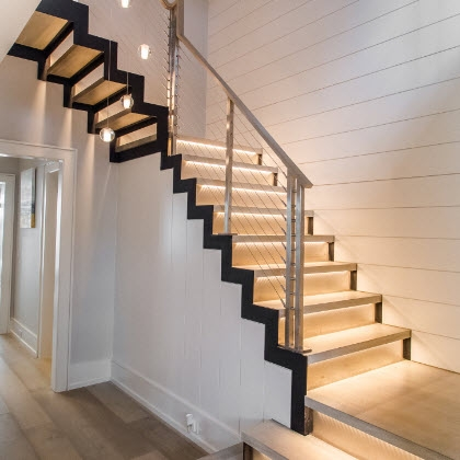 Modern Stairs With Stainless Railing Greenwich Ct Keuka Studios | Modern Style Stair Railing | Handrail | Art Deco | Rustic Farmhouse | Decorative | Unique Fancy Stair