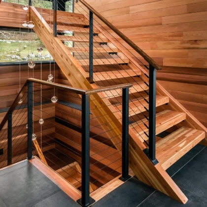 Cable Railings And Stairs Custom Designs By Keuka Studios | Modern Railing Designs For Stairs | Outdoor | Small | Interior | Stairway | Inside Staircase
