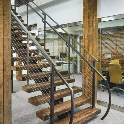 Bare Steel Mono Stringer Stairs And Cable Railing Philadelphia   Barn Wood Stair Railing   Industrial   Farmhouse   Wood Plank   Entryway Stair   Upstairs