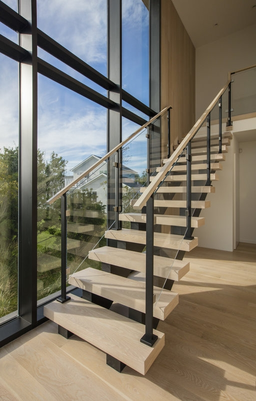 Custom Glass Railing For Stairs And Decks Keuka Studios | Wooden Handrail With Glass | Oak | Square | Marble | Landing | Nautical Wood