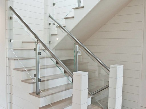 Custom Glass Railing For Stairs And Decks Keuka Studios | Staircase Handrail Glass Designs | Frosted Glass | Curved | Glass Baluster | Glass Painting | Glass Etching