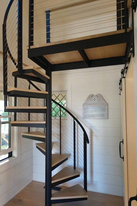 Spiral Stairs With Cable Railing Keuka Studios | Spiral Staircase Into Loft | Loft Conversion | Small Spaces | Tiny House | Space Saving | Staircase Design