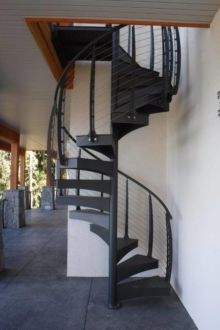 Spiral Stairs With Cable Railing Keuka Studios | Outdoor Spiral Staircase For Deck | Farmhouse | Basement | Multi Level | 2Nd Floor | Steel