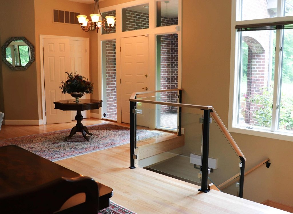 Custom Glass Railing For Stairs And Decks Keuka Studios   Glass Stair Railings Interior   Indoor   Architectural Modern Wood Stair   Stair Banister   Stainless Steel   Glass Balustrade