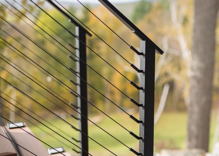 Black Stainless Steel Cable Railing And Fittings Keuka Studios   Black Metal Railing For Stairs   Rail   Double Basket   Kid Safe   Residential   Modern