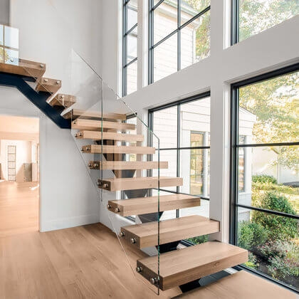 Cable Railings And Stairs Custom Designs By Keuka Studios | Modern Home Stair Railings | Single Moulding | Stainless | House | Wall Mounted | Mountain