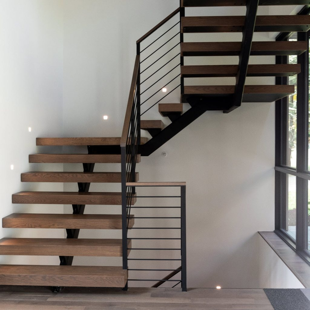 How Much Do Custom Floating Stairs Cost Keuka Studios | Steel Railing For Stairs Price | Fancy | Iron Work | Ss Handrail | Cheap | Inside