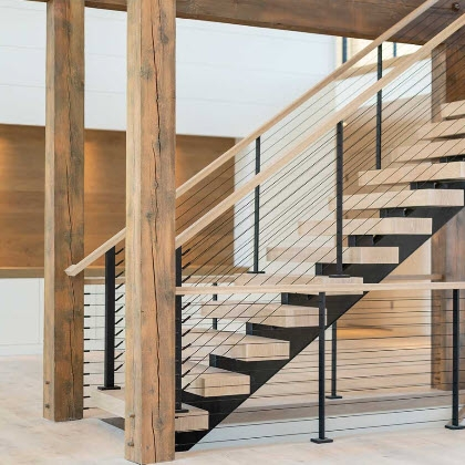 Cable Railing Custom Stairs Project Gallery Keuka Studios | Black Horizontal Stair Railing | Metal | Linear | Interior | Wood | Exterior