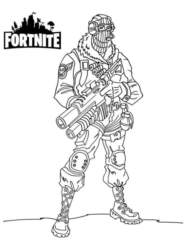 Drawing Fortnite Knight Print Black