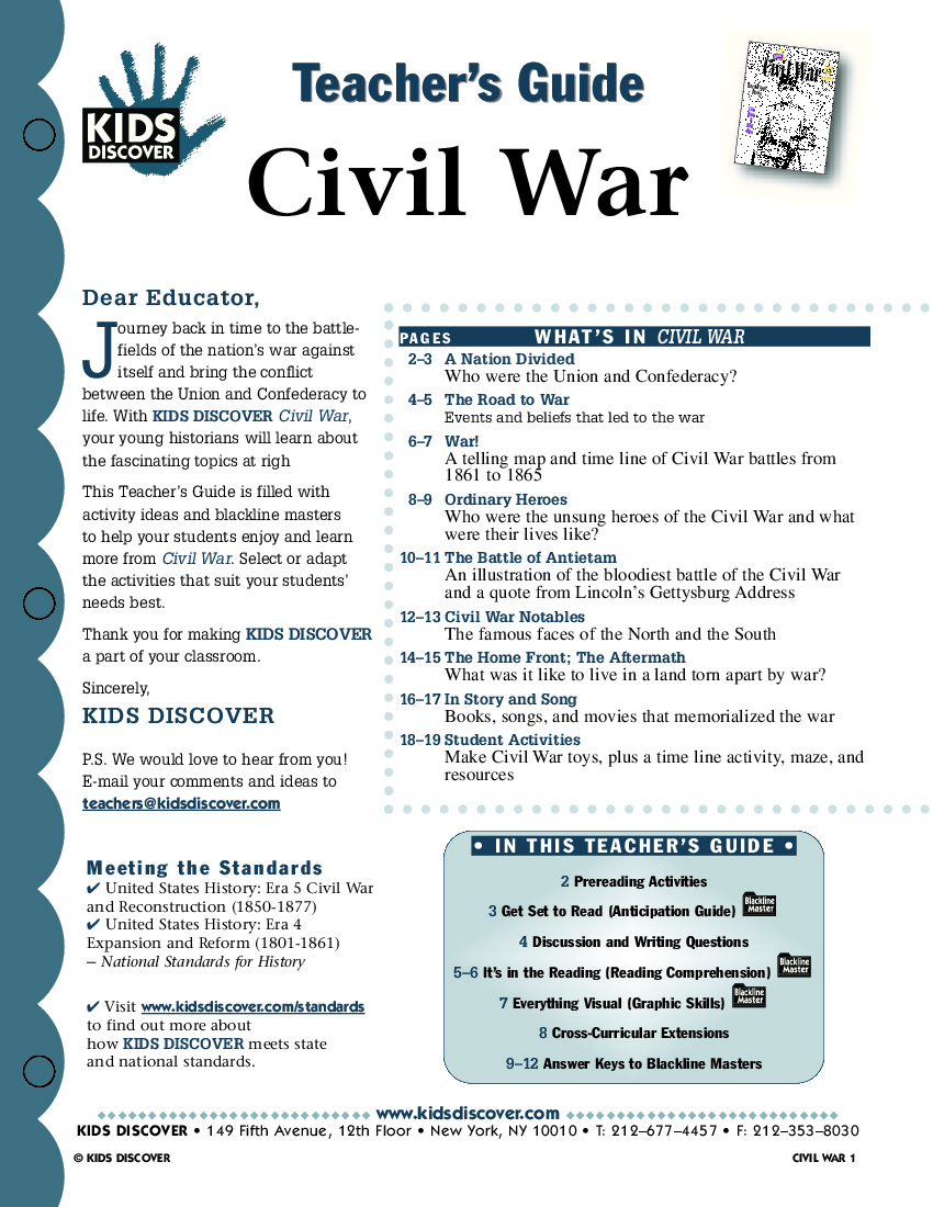 Worksheets Civil War Lesson Plan