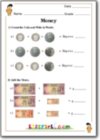 Indian Currency Math Worksheet, Teach Money for Class 1 ...