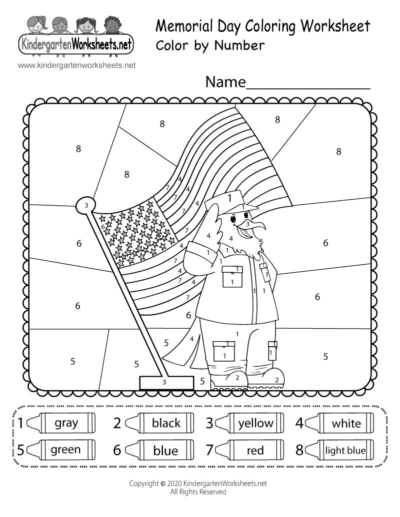 Free Printable Memorial Day Coloring Worksheet For Kindergarten