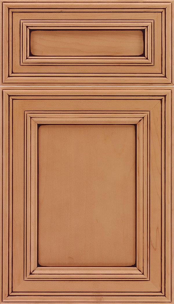 Chatham Cabinet Door Style   Classic Cabinetry with Elegant Beading     Chatham 5pc Maple recessed panel cabinet door in Ginger with Mocha glaze  zoom