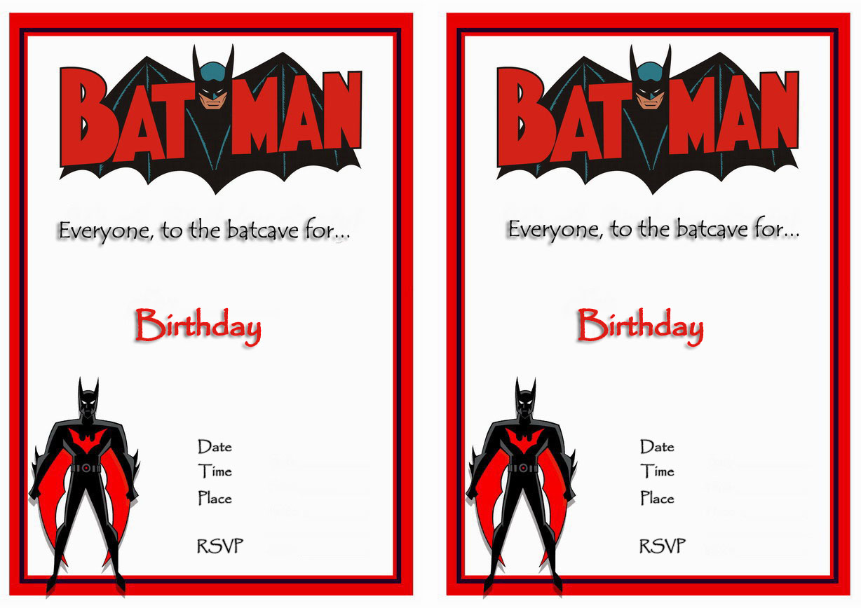 Free Printables Batman Invitations