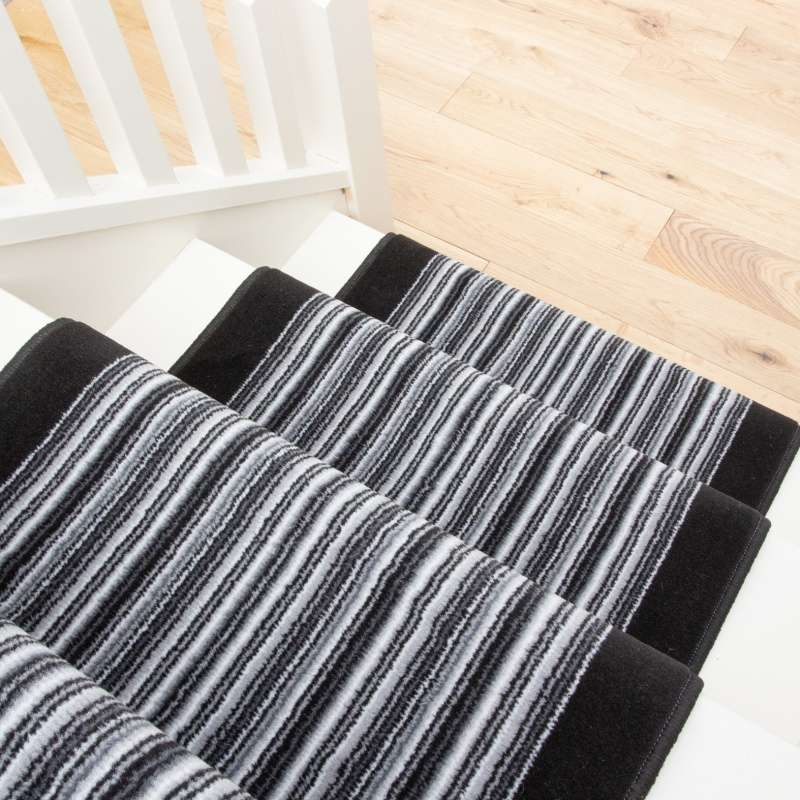 Black White Stripey Stair Carpet Runner Cut To Measure Kukoonrugs | Black And White Stair Carpet | Entry Hall | Square Pattern | Luxurious | American Style | Small Space