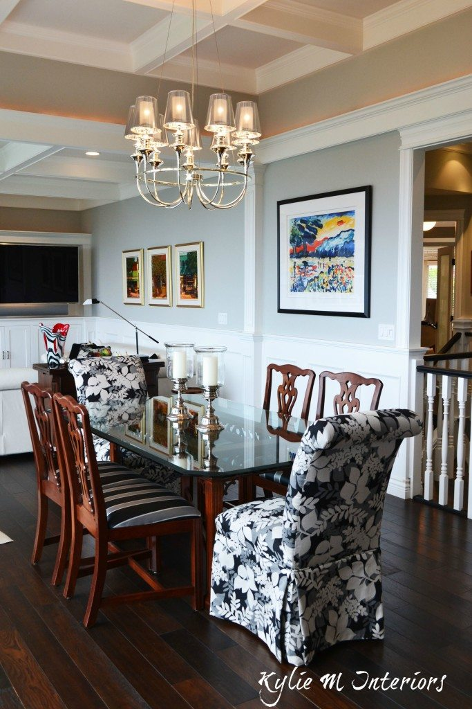 Open Concept Dining Room And Living Room With Coffered
