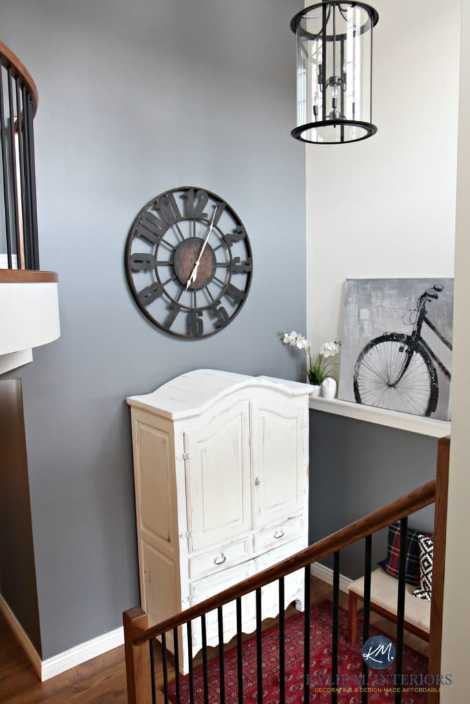 2 Storey Foyer Entryway With Round Large Clock White