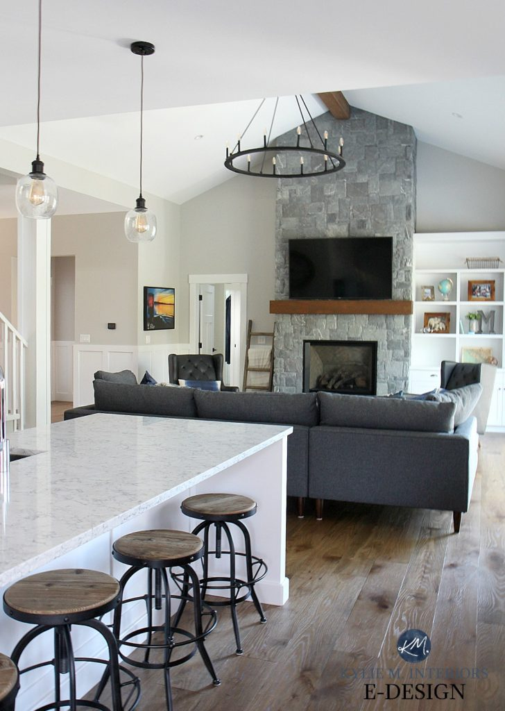 White Lg Quartz Countertop Open Layout Kitchen And Living