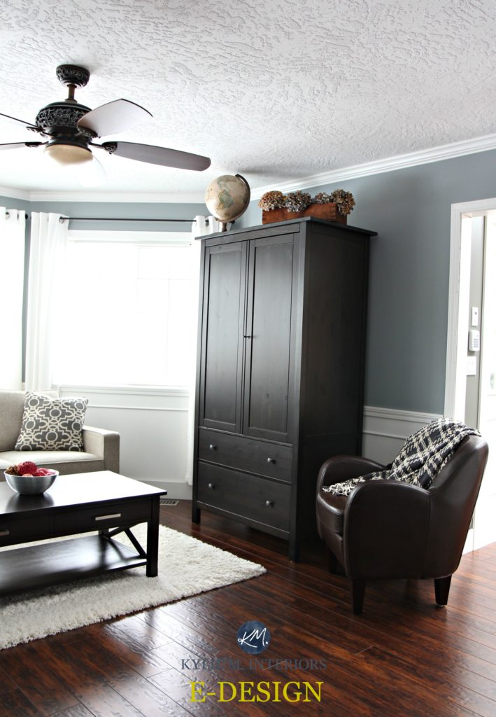 Sherwin Williams Network Gray With Black Armoire And
