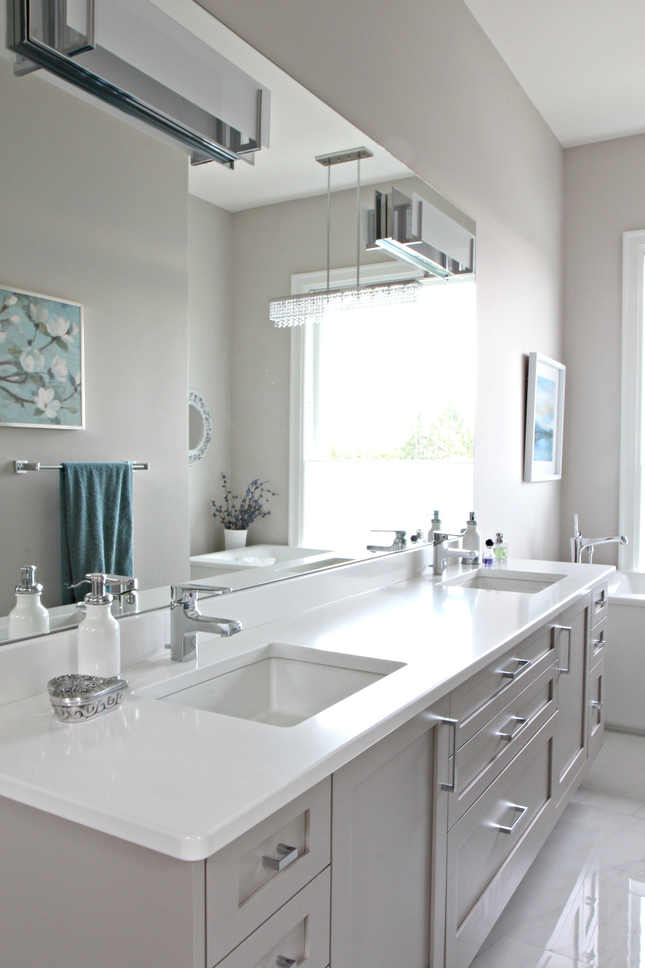 Bathroom With Floating Gray Vanity Cambria Quartz