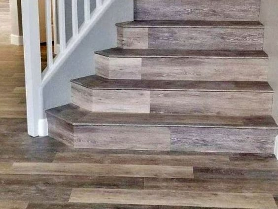 Coretec Vinyl Plank Stair Treads – Hardwood Vinyl Plank Flooring | Wood Stair Tread Caps | Red Oak | Retread | Hardwood | Nosing | Pre Built