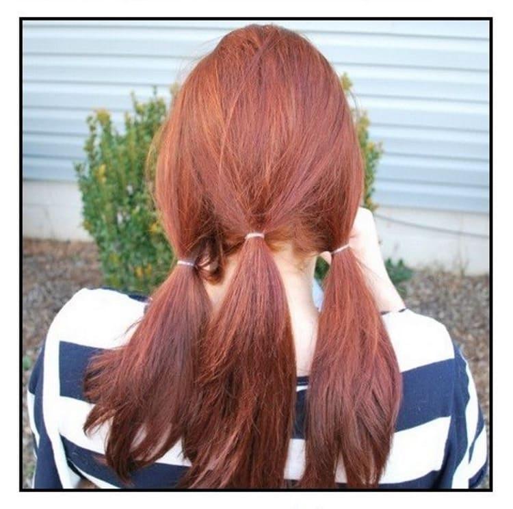 Separação de cabelo em fios que estão indo para caudas