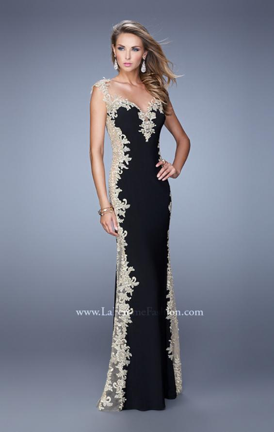 La Femme 20895   La Femme Picture of  Long Jersey Dress with Lace and Small Cap Sleeves  Style  20895