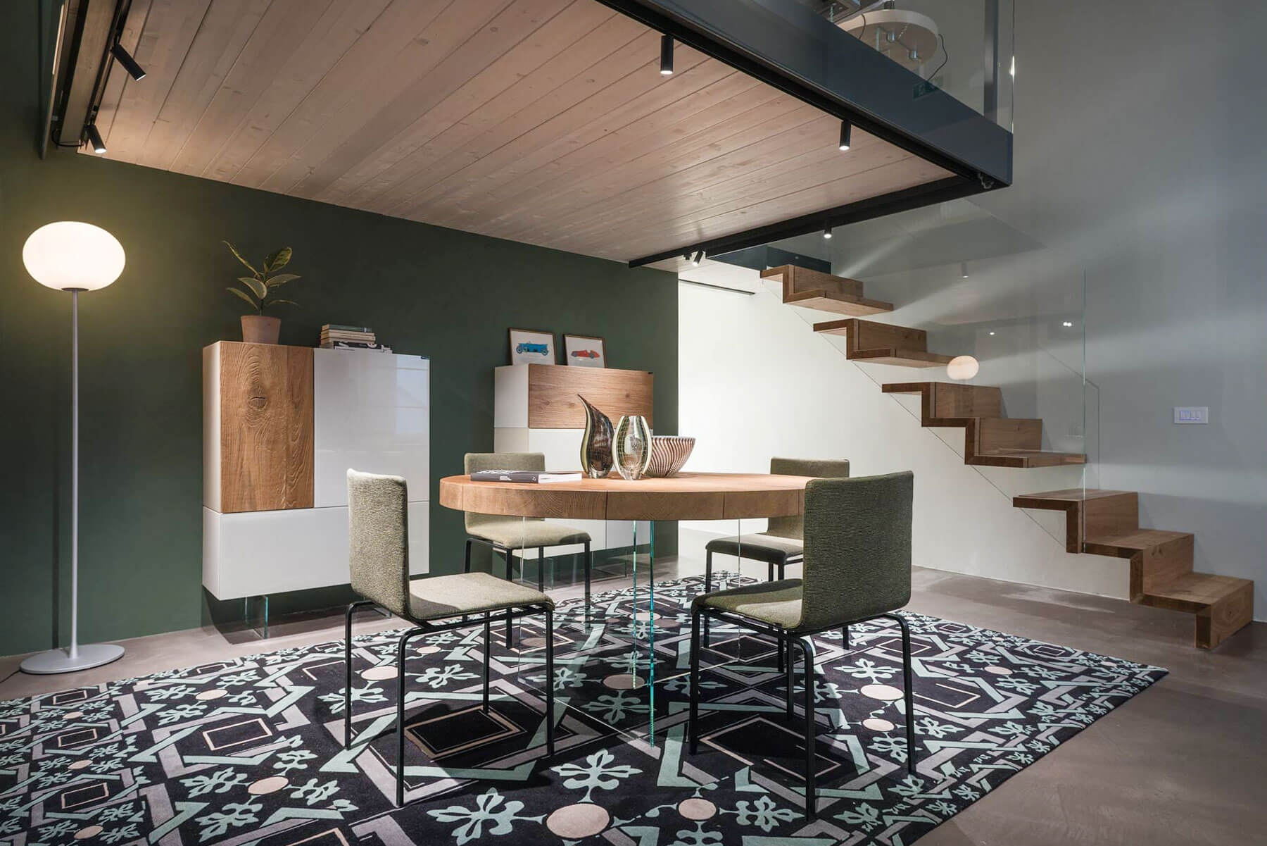 A Dining Room Designed For Socialising Lago Design   Sala Design With Stairs   Front   Showcase   Basement   Siri Ghar   Room Separation