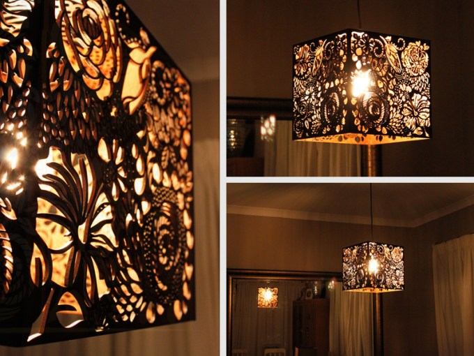 Laser Cut Floral Wood Light Shade