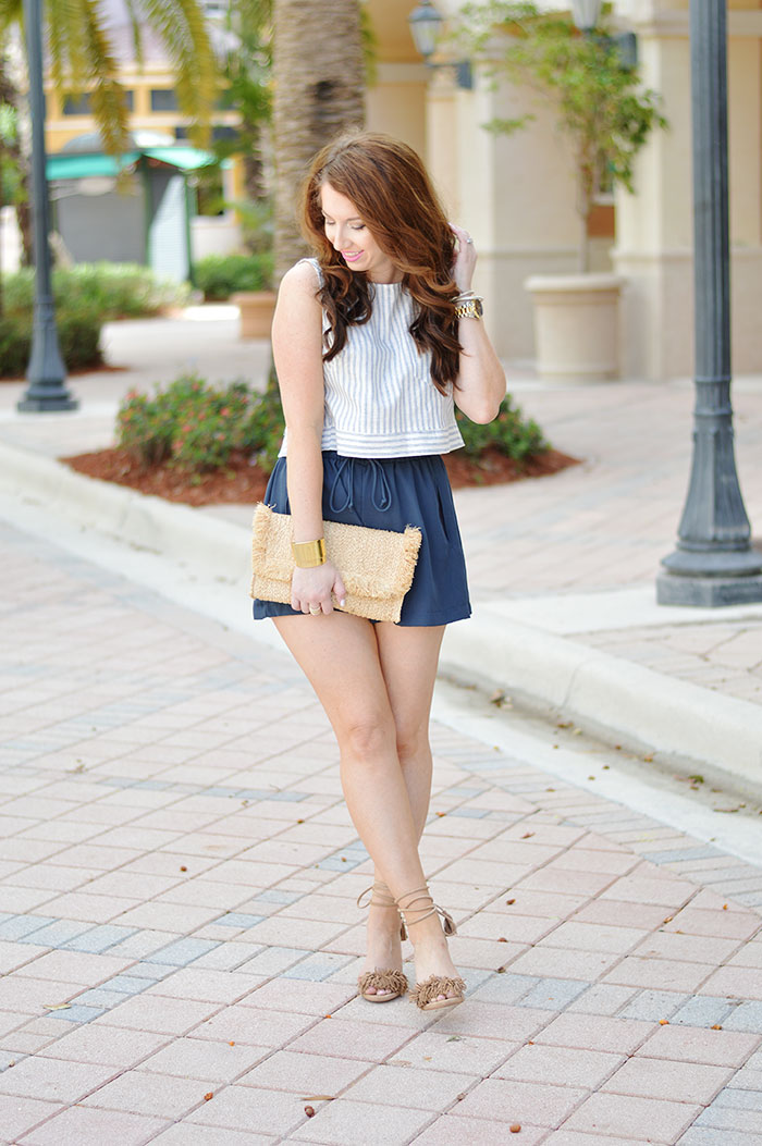 High Waisted Shorts And Crop Top