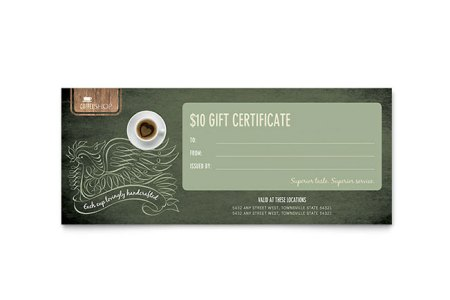 Coffee Shop Gift Certificate Template   Word   Publisher