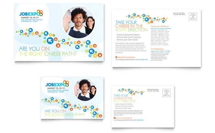 Job Expo Amp Career Fair Postcard Template Word Amp Publisher