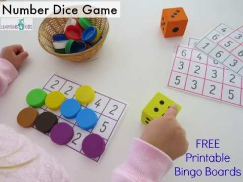 Subitising Printable Dice Game   Learning 4 Kids Subitising number and dice game   free printable bingo mats by learning 4  kids