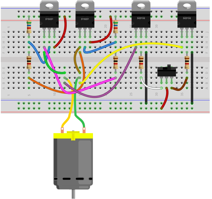 Transistor H Bridge Breadboard