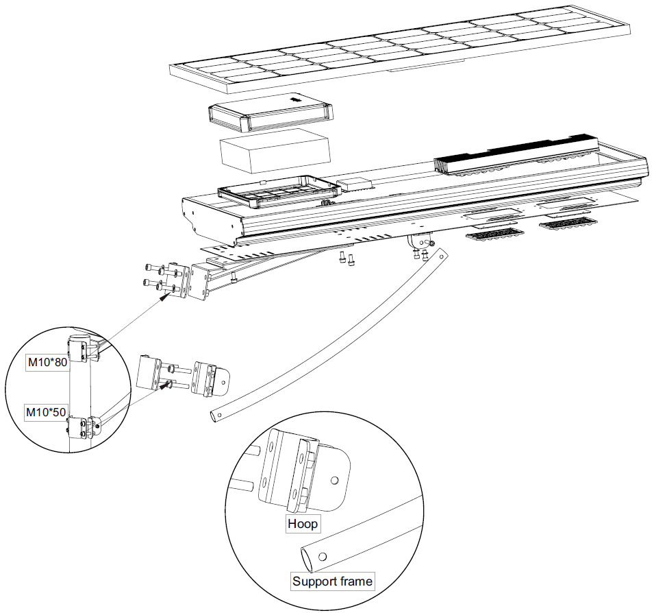 Dimensions in mm of the 40w photovoltaic led light