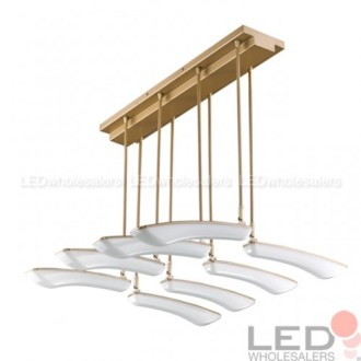 32W LED Surface Mount Ceiling Light with 8 Pivoting Petals     32 Watt LED Surface Mount Ceiling Light with 8 Pivoting Petals in Champagne  Gold Finish  Warm White 3000K