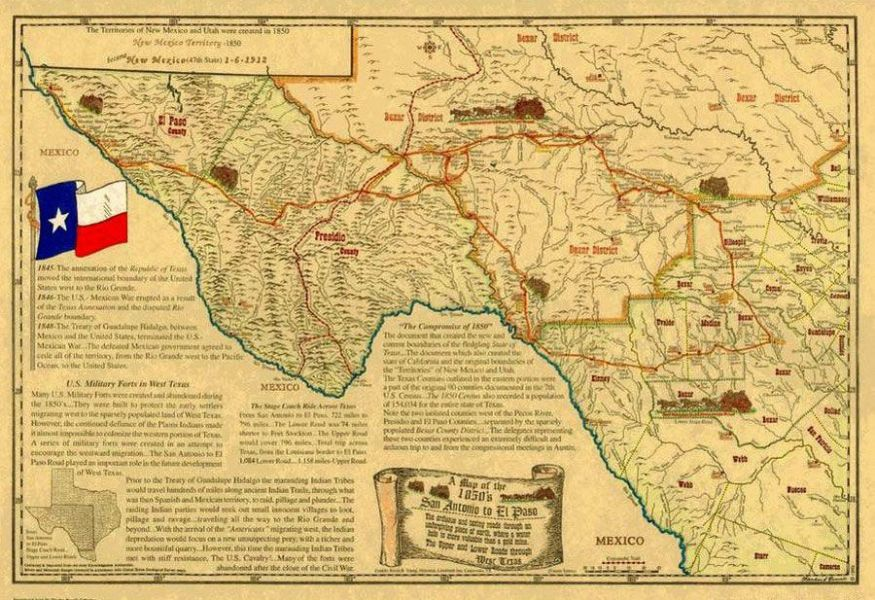 San Antonio El Paso Road     Legends of America Southwest Texas Road Map  1850
