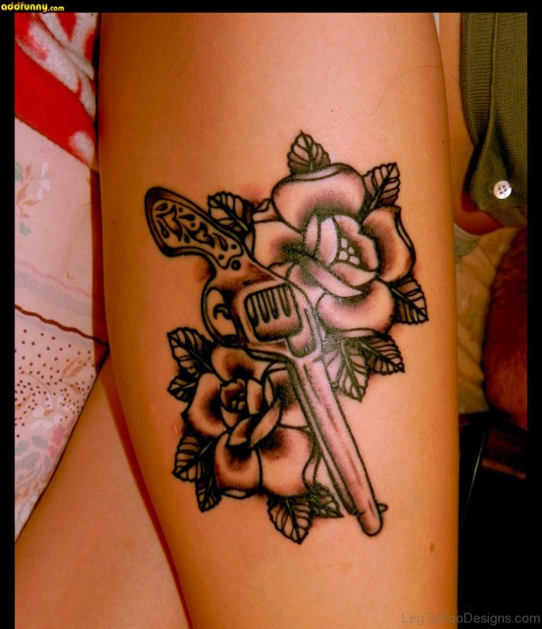 Guns And Roses Thigh Tattoo Designs