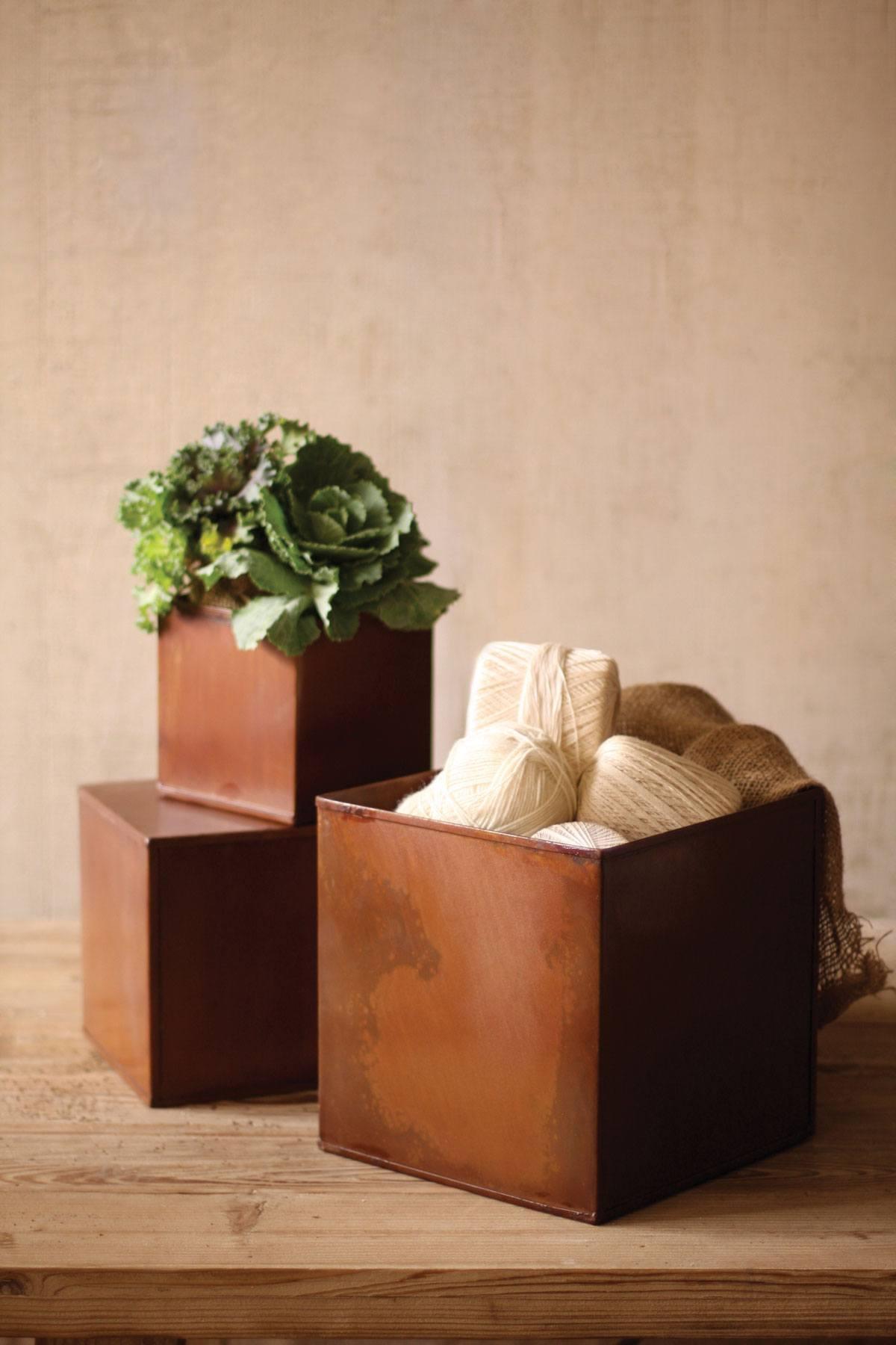 Kalalou Set Of Square Rustic Metal Pots Leisure Living