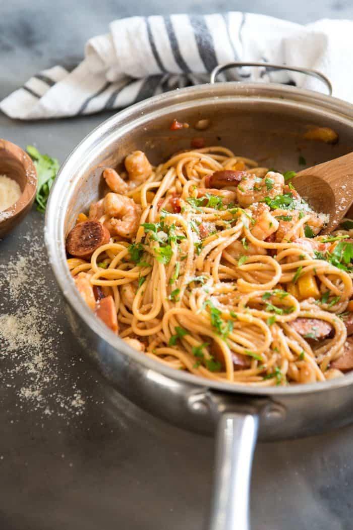 Jambalaya pasta half the pan
