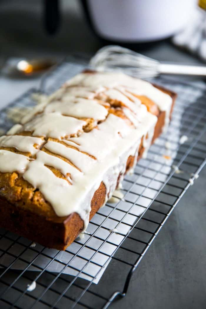 Simple banana bread recipe with drizzled glaze