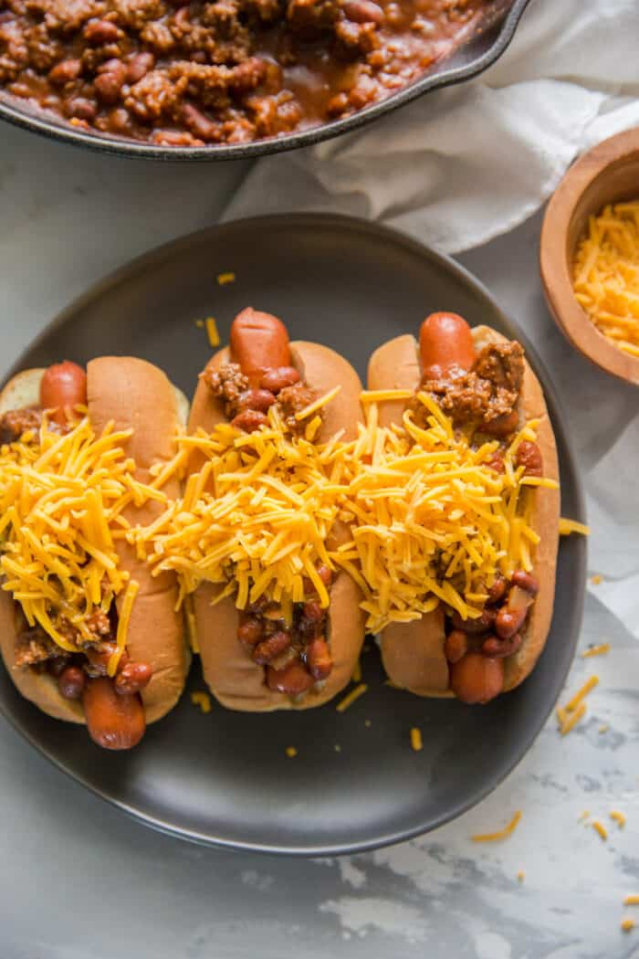 cheese topped chili dog