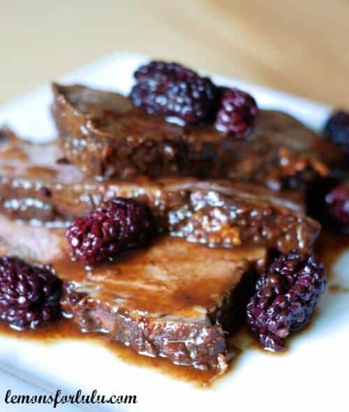 Beef Brisket with Blackberry Balsamic Sauce
