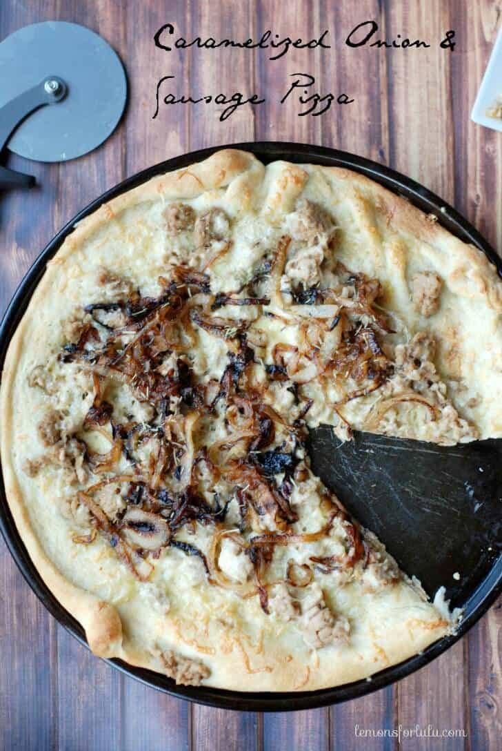 Pillsbury pizza crust topped with sweet caramelized onions, savory Italian sausage and creamy Gouda cheese! www.lemonsforlulu.com