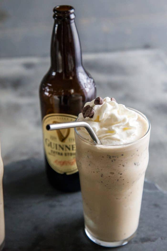 Guinness milkshake with a straw