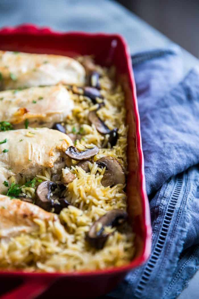Baked chicken recipe with mushrooms